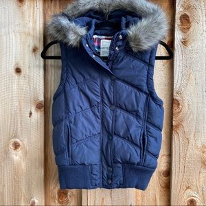 Aeropostale Navy Puffer Hooded Fur Vest